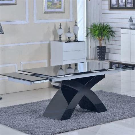 achat cuisine pas cher table en verre noir à rallonges extensible elix achat