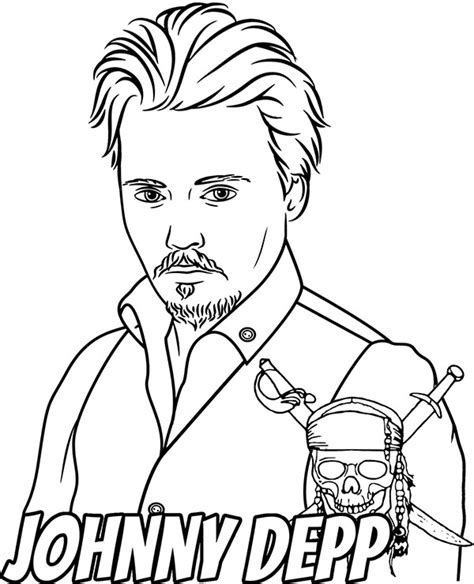 actor coloring page johnny depp  coloring sheets