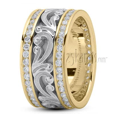 floral carved diamond wedding ring dw  gold
