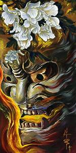 Hannya mask Art. Acrylic painting on canvas 30x15 ...