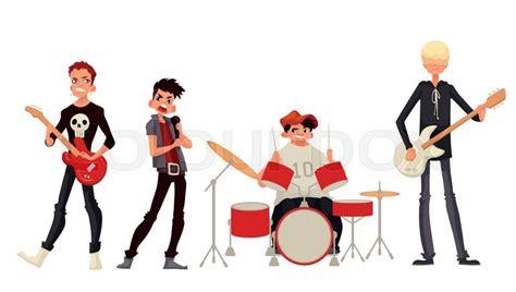 Cartoon Rock Group Musicians Vector Illustration Isolated