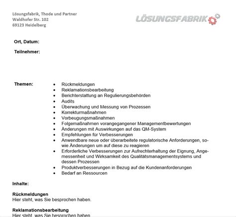 vorlage iso  managementbewertung managementreview