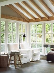 Rustic   Modern Sunroom  Sun Porch  With Exposed Beam