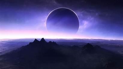 Eclipse Space Mountain Solar Planet Desktop Wallpapers