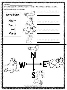 cardinal directions kindergarten  st grade tpt