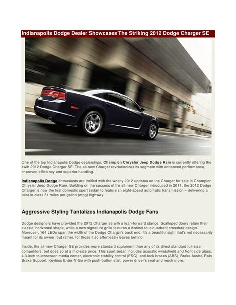 Chrysler Dealerships Indianapolis by 2012 Dodge Charger Se In Indianapolis Available At