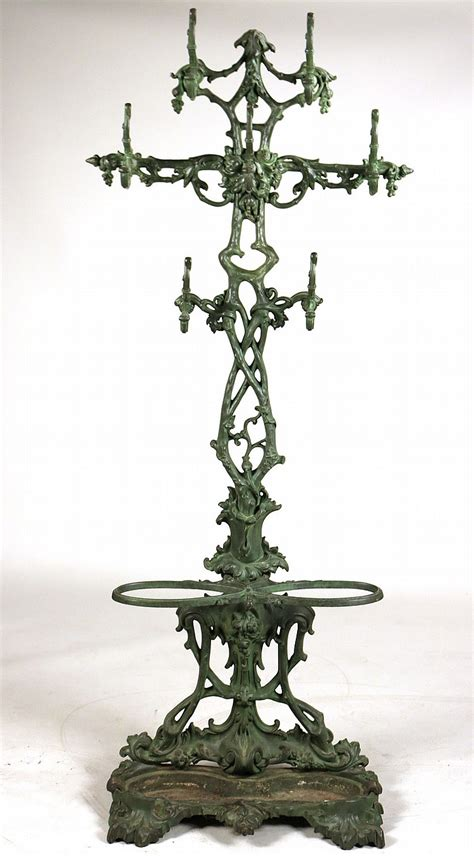Green Painted Cast Iron Hall Tree