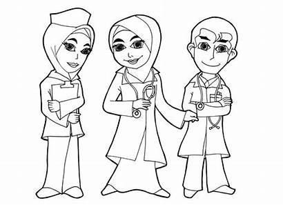 Gambar Kartun Dokter Doktor Nurse Mewarnai Cita