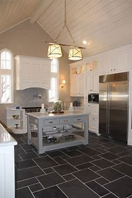 Kitchen Floor Tile with White Cabinets