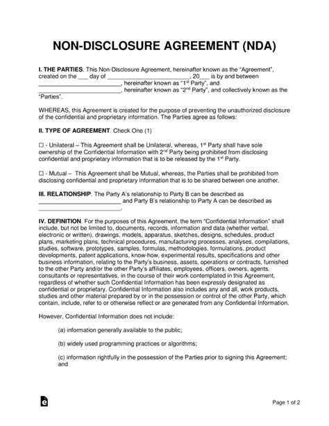 Non Disclosure Agreement Template Non Disclosure Nda Agreement Templates Eforms Free