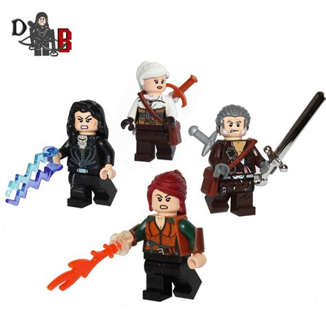 finally finished them my lego witcher minifigures geralt ciri yennefer and triss witcher
