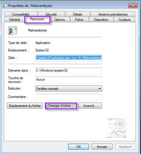 changer icone bureau raccourci pour exécuter un programme avec élèvation de