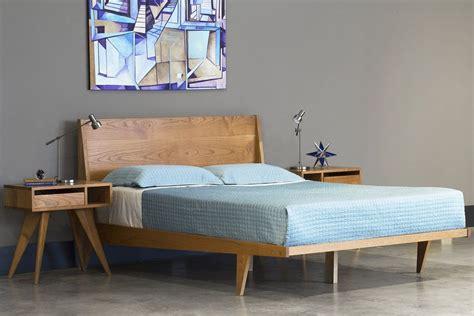 Platform Bed Mid Century Solid Wood Handmade Modern