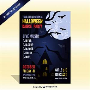 Halloween party with live music flyer template Vector ...