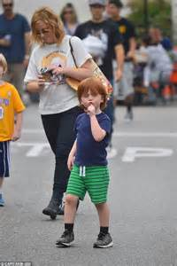 Amy Poehler keeps it low key as she takes her sons Archie ...