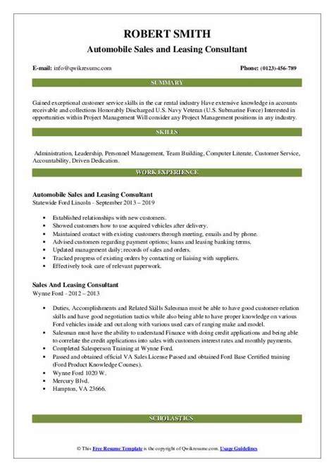 sales  leasing consultant resume samples qwikresume