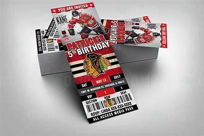Chicago Blackhawks Party Hockey Invites Ticket Invitations
