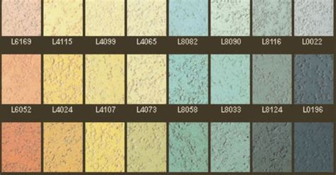 colour chart  pitted textured polished plaster