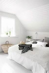 Lambris Peint En Blanc : lambris pvc dans une chambre la d co blanche ~ Dailycaller-alerts.com Idées de Décoration
