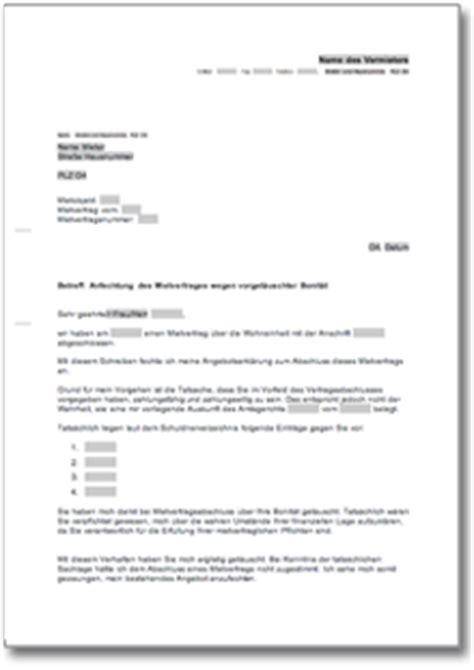 vermieterbescheinigung haus und grund anfechtung des mietvertrages wegen vorget 228 uschter bonit 228 t de musterbrief