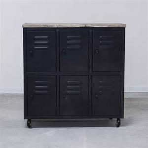 Meuble Industriel But : meuble d 39 atelier industriel 6 casiers en m tal gris noir ~ Teatrodelosmanantiales.com Idées de Décoration