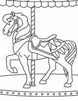Carousel Coloring Pages Carnival Horse Ferris Horses Wheel Bumper Cars Printable Template Circus Playing Sketch Getcolorings Tocolor sketch template