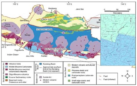 simplified geologic map  central java indonesia
