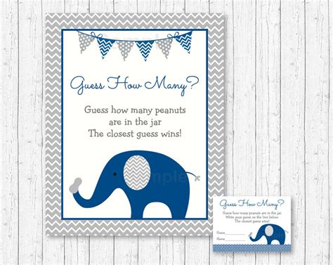 blue elephant guess  peanuts baby shower guess