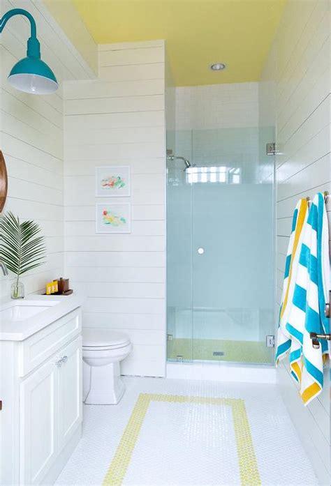 yellow  blue beach style kids bathroom cottage bathroom