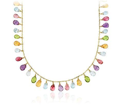 multi gemstone necklace multi gemstone statement necklace in 14k yellow gold