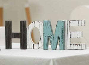 Standing Letter Decor - rustic wood home decorative sign standing cutout wooden
