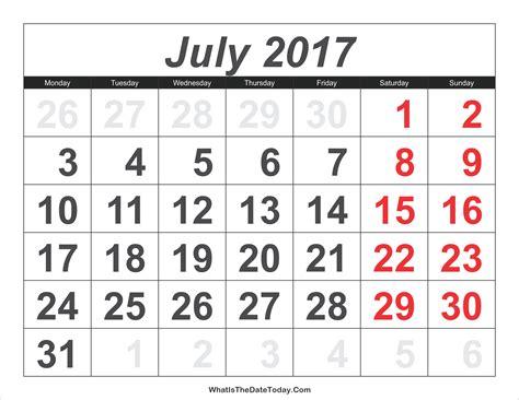 calendar july large numbers whatisthedatetodaycom