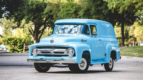 truck car ford 1956 ford f100 panel truck