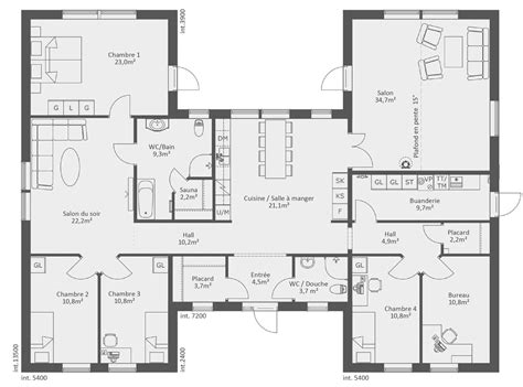 plan de maison gratuit 4 chambres plan maison plain pied 3
