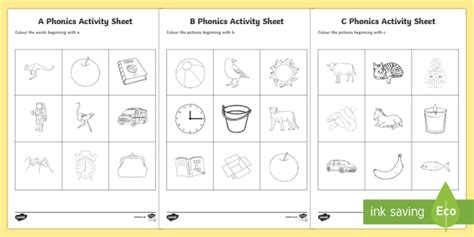 phonics colouring worksheet activity sheets resource pack