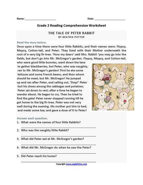tale  peter rabbit  grade reading worksheets