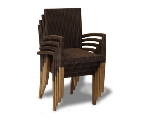 st tropez teak garden table and 6 rattan stackable chairs