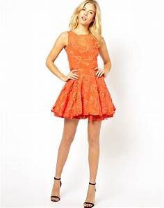 lyst ax paris lace skater dress in orange With chaussure plate avec robe
