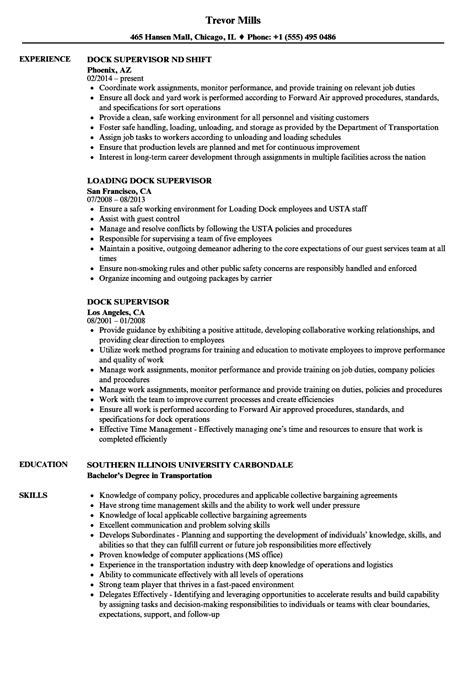 dock supervisor resume samples velvet jobs