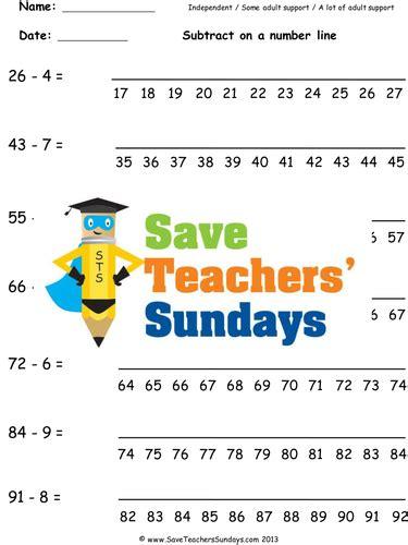 number line subtraction ks1 worksheets lesson plans and plenary by saveteacherssundays