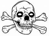 Skull Crossbones Coloring Pages Skulls Bones Drawing Pirate Fire Halloween Colouring Easy Draw Cross Printable Gangster Sugar Bandanas Sketch Arm sketch template