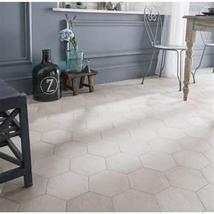 Carrelage Hexagonal Blanc : carrelage sol et mur blanc cass effet b ton time x l ~ Premium-room.com Idées de Décoration