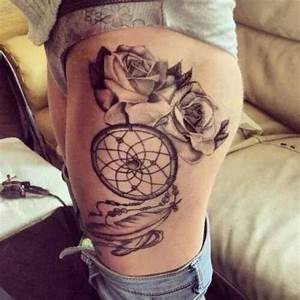 Tattoo Frau Oberschenkel : roses and dreamcatcher tattoo woman tattoo tattooed tattoos thigh tattoos pinterest ~ Frokenaadalensverden.com Haus und Dekorationen