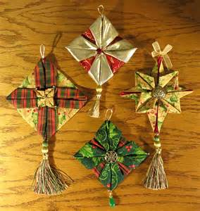 index of links to about a dozen folded fabric ornaments some have tutorials others are from