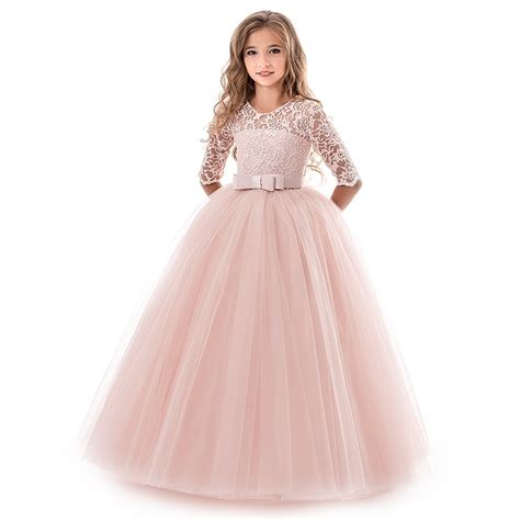 summer girl lace dress long tulle teen girl party dress