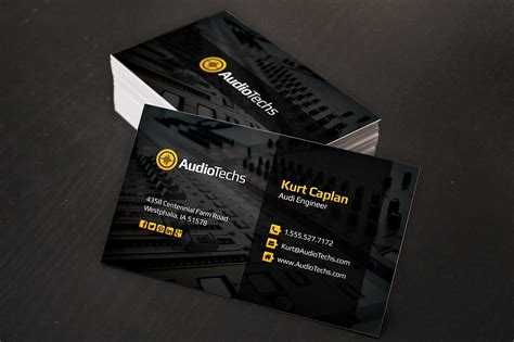 Audio Engineer Business Cards + Logo Business Letter Template Book Logo Tape Editable Jackets Giveaways Signature To Mla