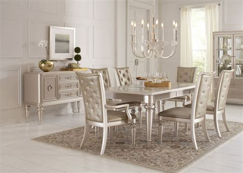 Home Meridian Dynasty Silver 7pc Dining Room Set The