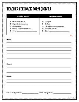 coaching walkthrough feedback form