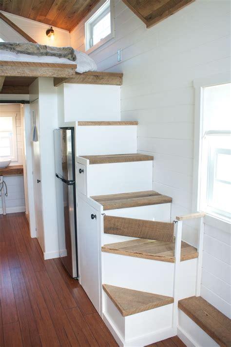modern farmhouse tiny house  wheels  storage stairs
