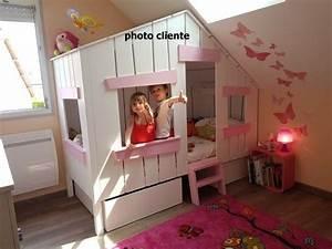 Cabane Chambre Fille : lit cabane petite fille beautiful lit princesse sur mesure with lit cabane petite fille cool ~ Teatrodelosmanantiales.com Idées de Décoration